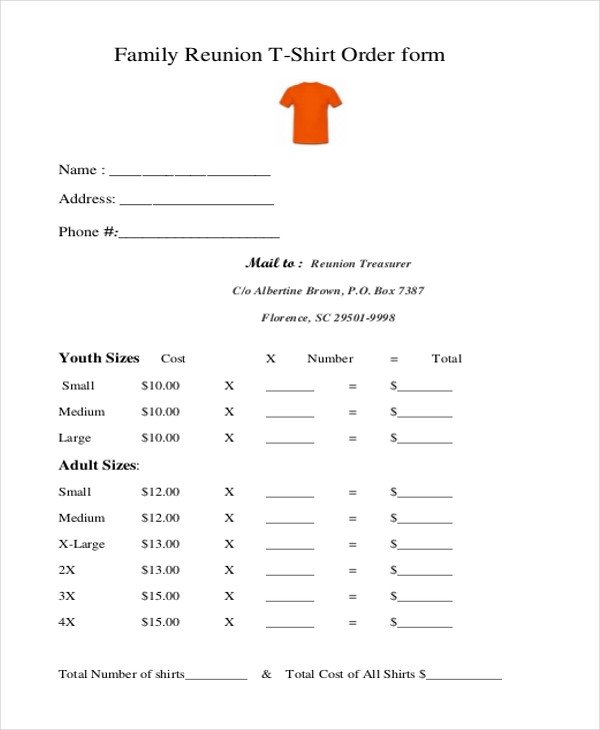Tee Shirt order form Sample T Shirt order form 10 Free Documents In Doc Pdf
