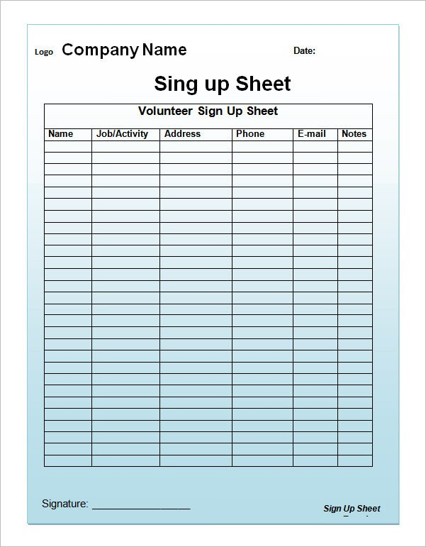 Template for Sign Up Sheet 23 Sample Sign Up Sheet Templates Pdf Word Pages Excel