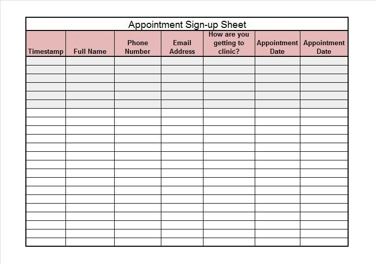 Template for Sign Up Sheet 40 Sign Up Sheet Sign In Sheet Templates Word & Excel