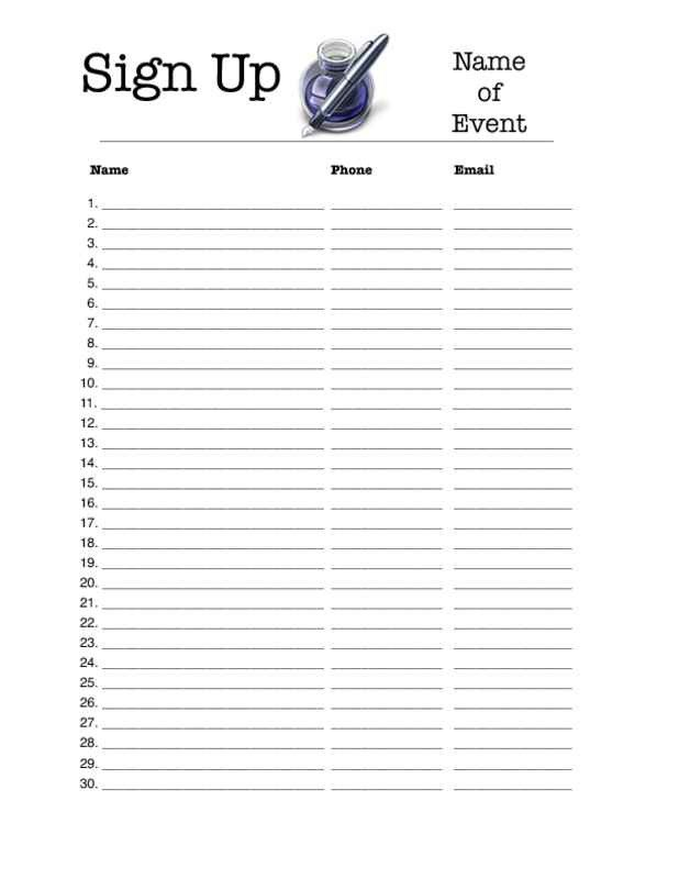 Template for Sign Up Sheet Editable Sign Up Sheet