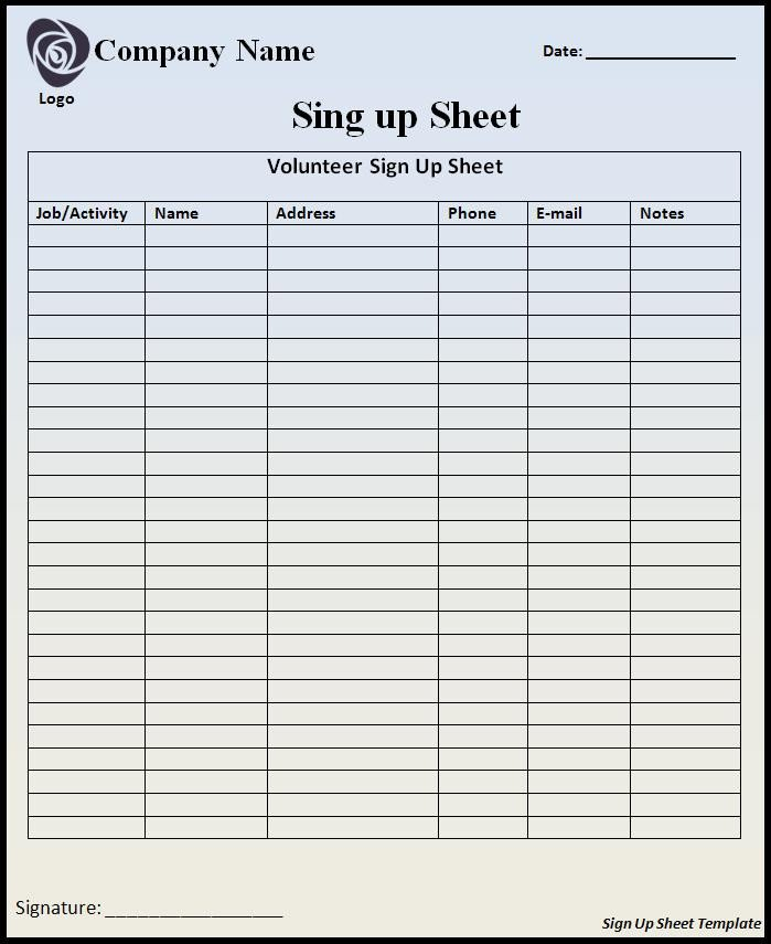 Template for Sign Up Sheet Sign Up Sheet Template