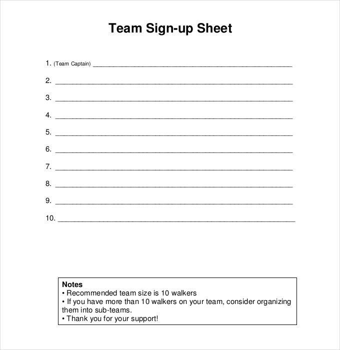 Template for Sign Up Sheet Sign Up Sheets 58 Free Word Excel Pdf Documents