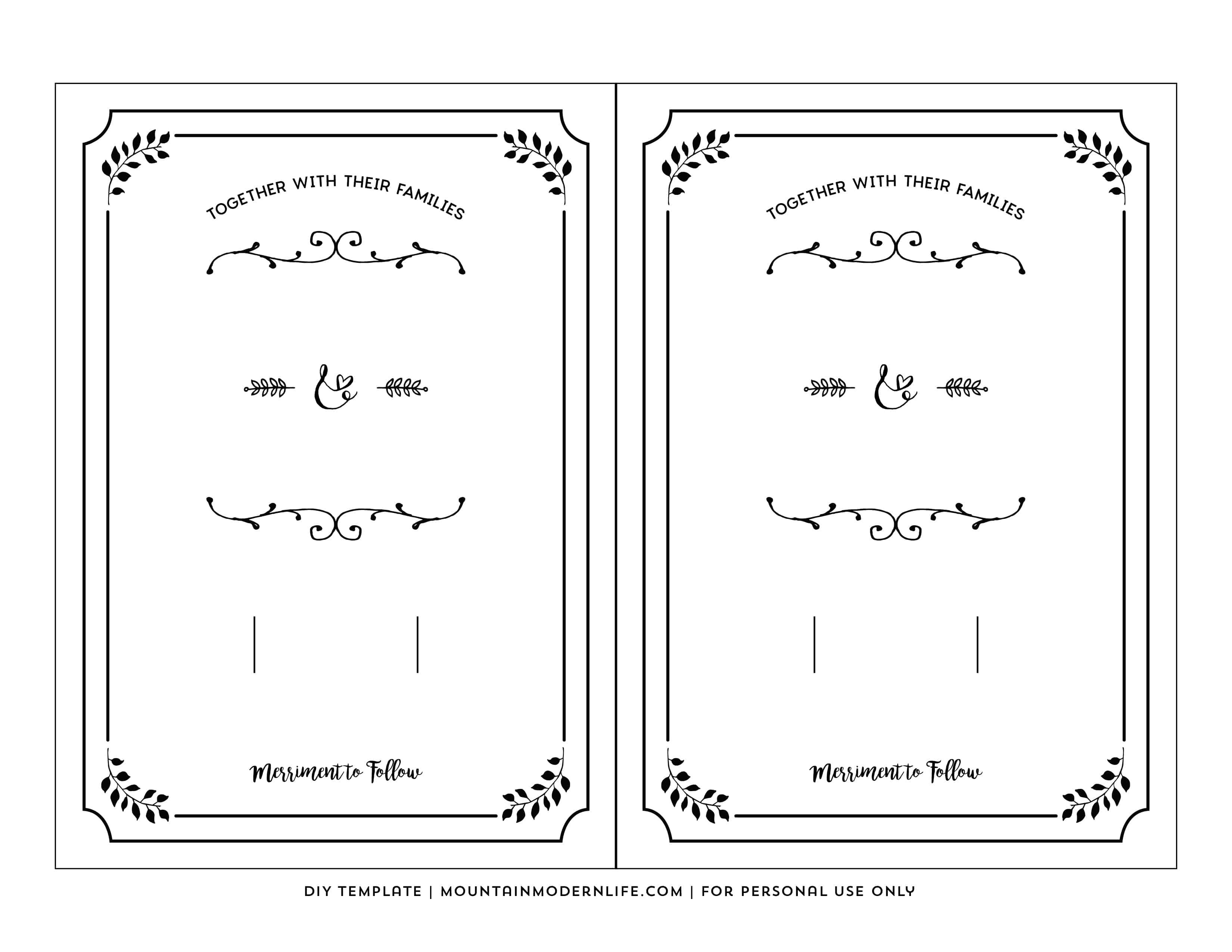 Template for Wedding Invitations Free Printable Wedding Invitation Template