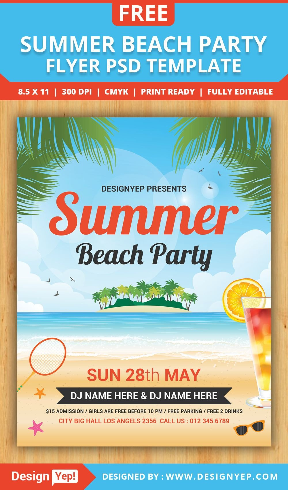 Templates for Flyers Free Free Summer Beach Party Flyer Psd Template Desingyep
