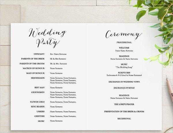 Templates for Wedding Programs 25 Wedding Program Templates Psd Ai Eps Publisher
