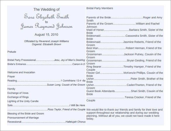 Templates for Wedding Programs 8 Word Wedding Program Templates Free Download