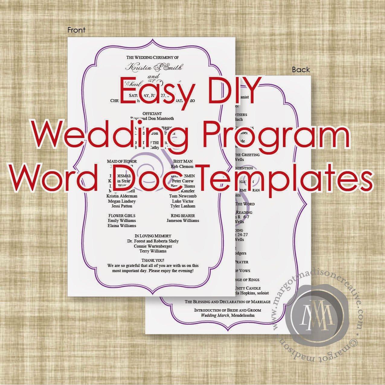 Templates for Wedding Programs Margotmadison Diy Wedding Program Word Doc Templates now