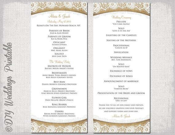 Templates for Wedding Programs Rustic Wedding Program Template Burlap & Lace Diy