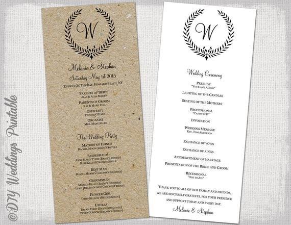 Templates for Wedding Programs Wedding Program Template Rustic Black Leaf Garland