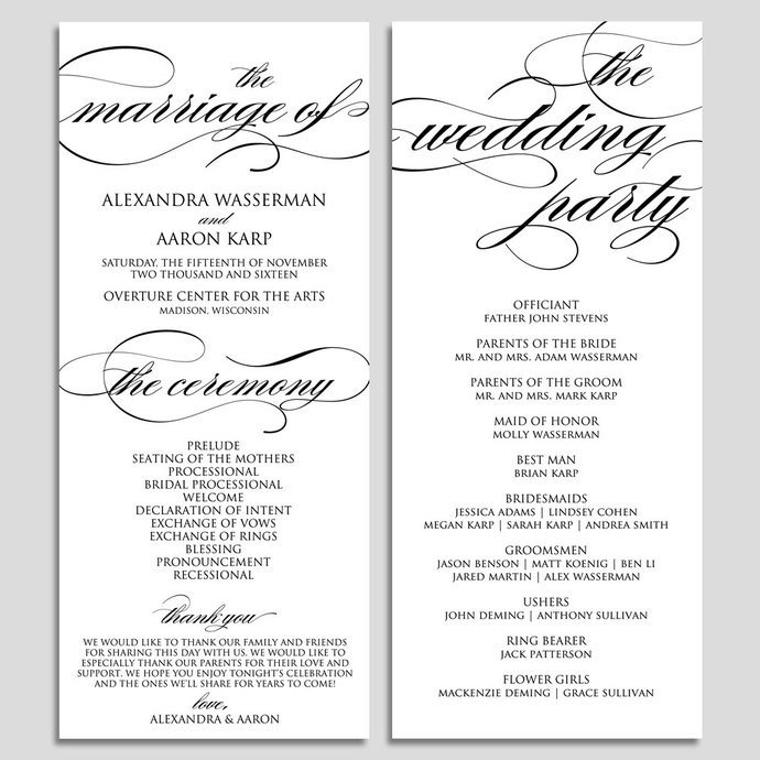 Templates for Wedding Programs Wedding Program Template Wedding Program by Modernsoiree