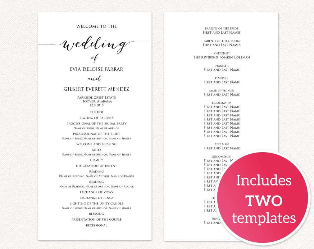 Templates for Wedding Programs Wedding Programs · Wedding Templates and Printables
