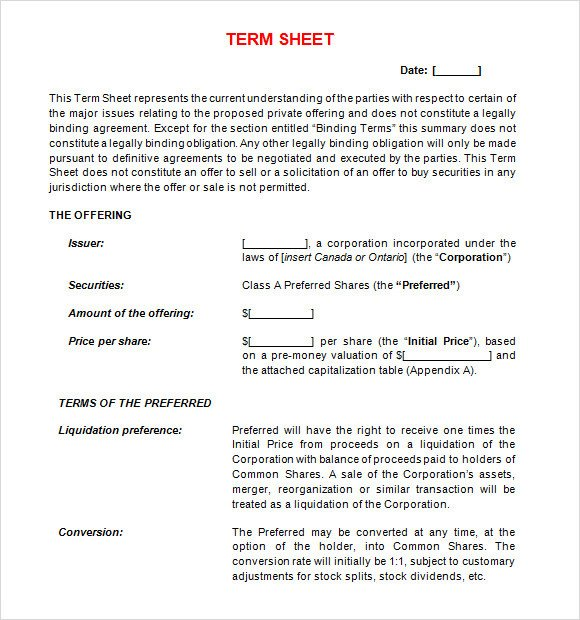 Term Sheet Template 14 Download Free Documents in PDF