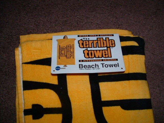 """Terrible towel Pictures Myron Copes Official Gold Terrible towel Beach towel 30"""" X"""