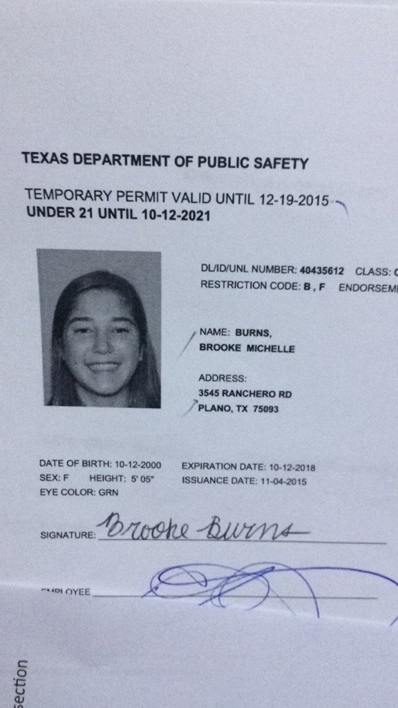 "Texas Temporary Paper Id Fake Dru Burns On Twitter ""when Brookemburns131 is Under 21"