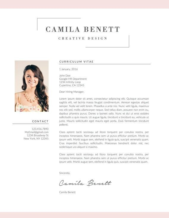 Textedit Resume Template Modern Resume Template Cover Letter Us Letter A4 Word