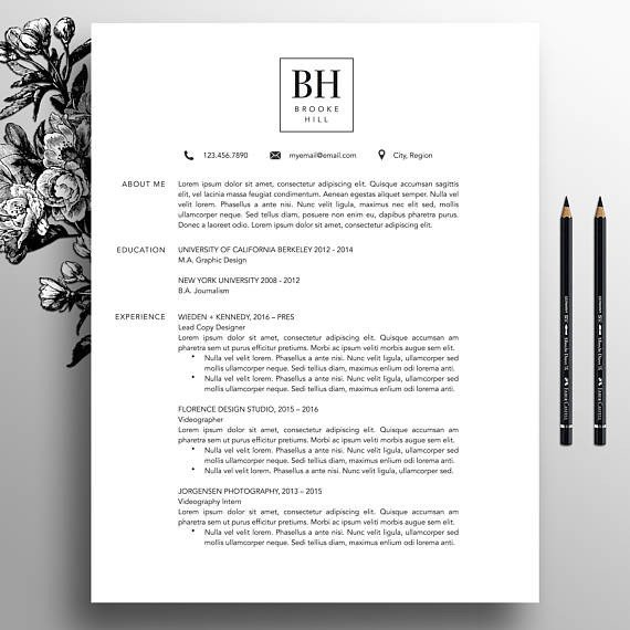 Textedit Resume Template Modern Resume Template Professional Cv Template Ms Word