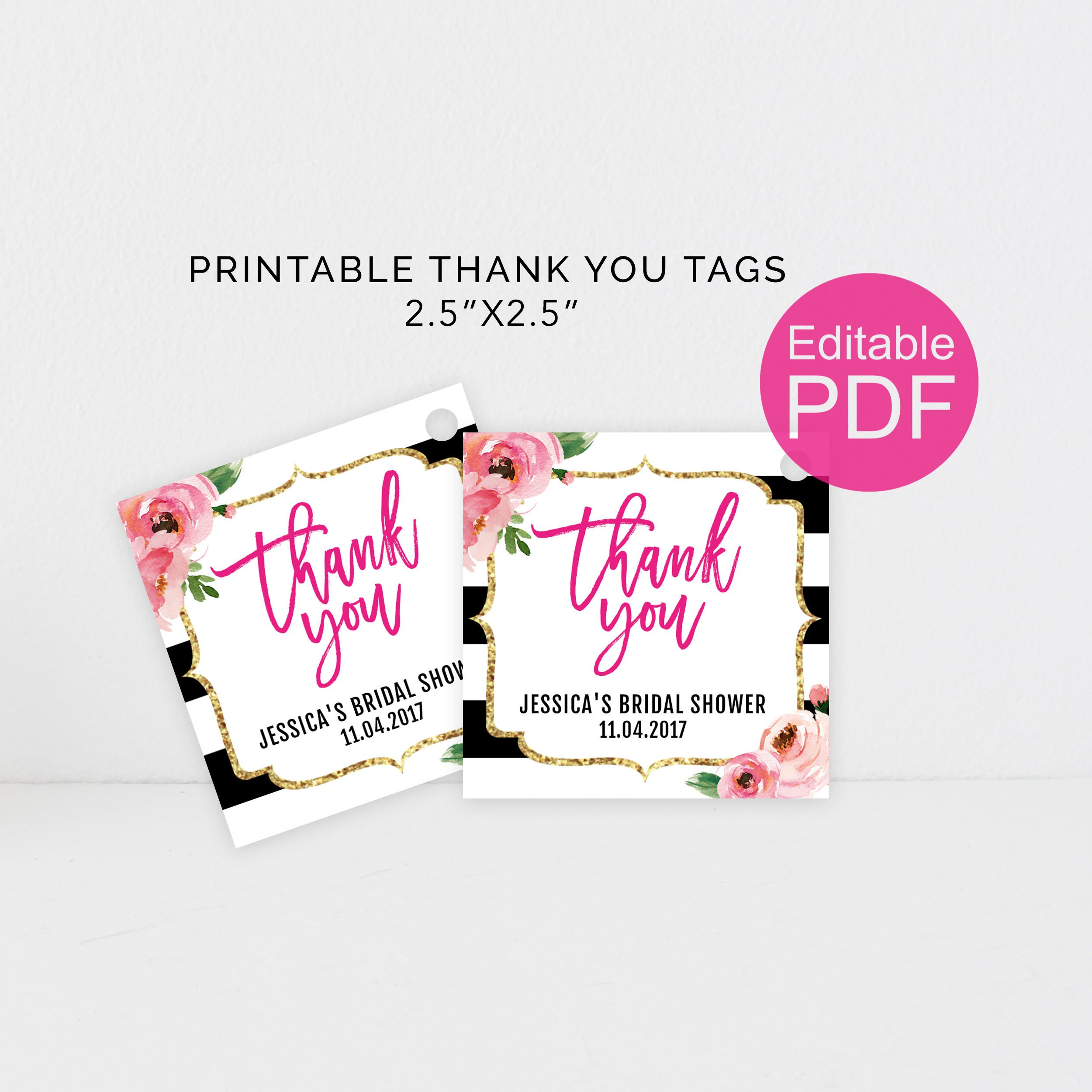 Kate Thank You Tags Template DIY Floral Thank You Tag Kate
