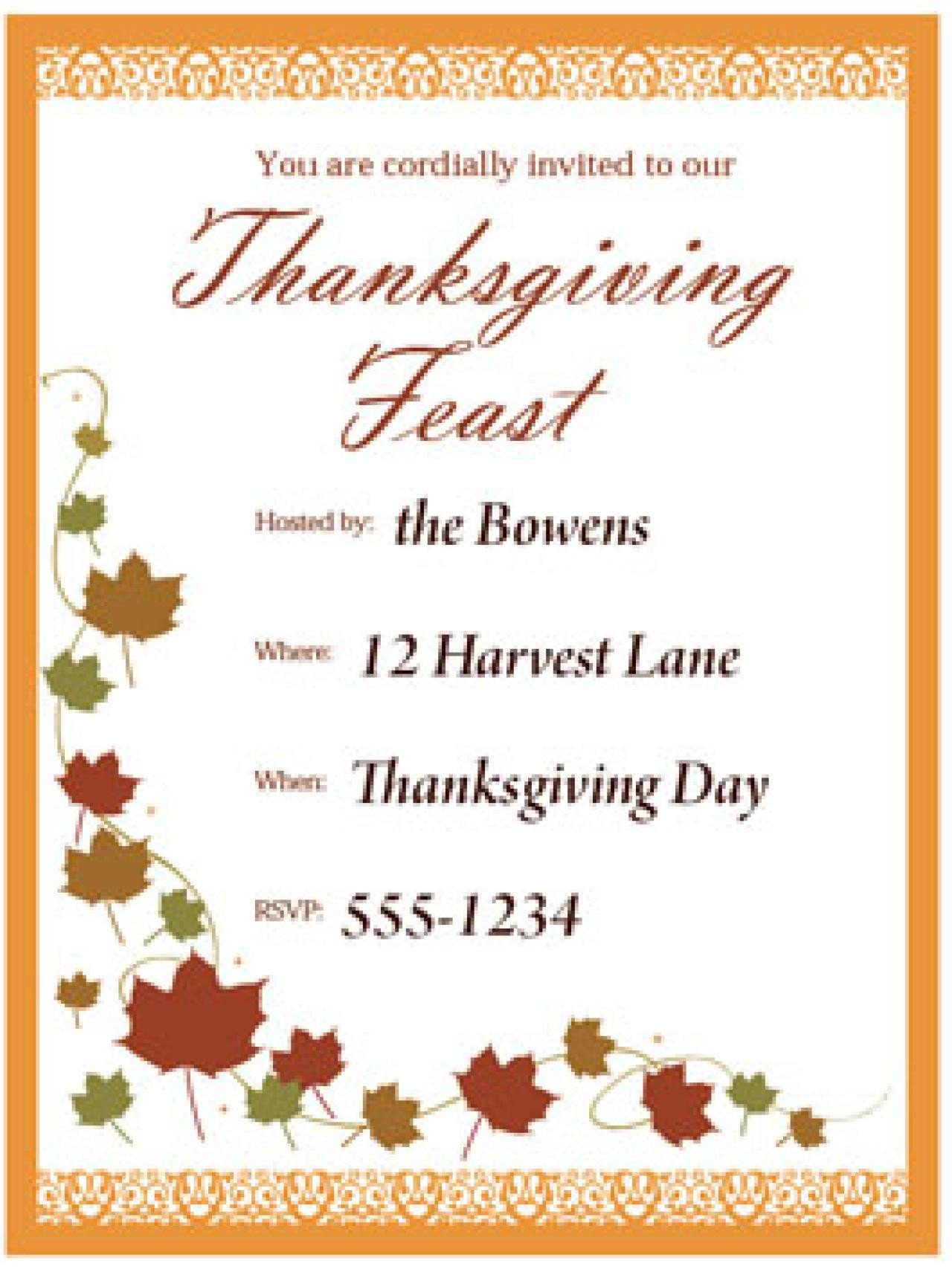 Thanksgiving Invitation Templates Free Word Free Thanksgiving Templates 31 Gift Tags Cards Crafts