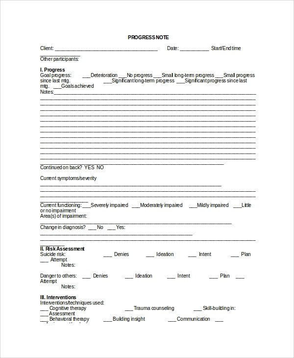 Sample Therapy Note Template 5 Free Documents Download