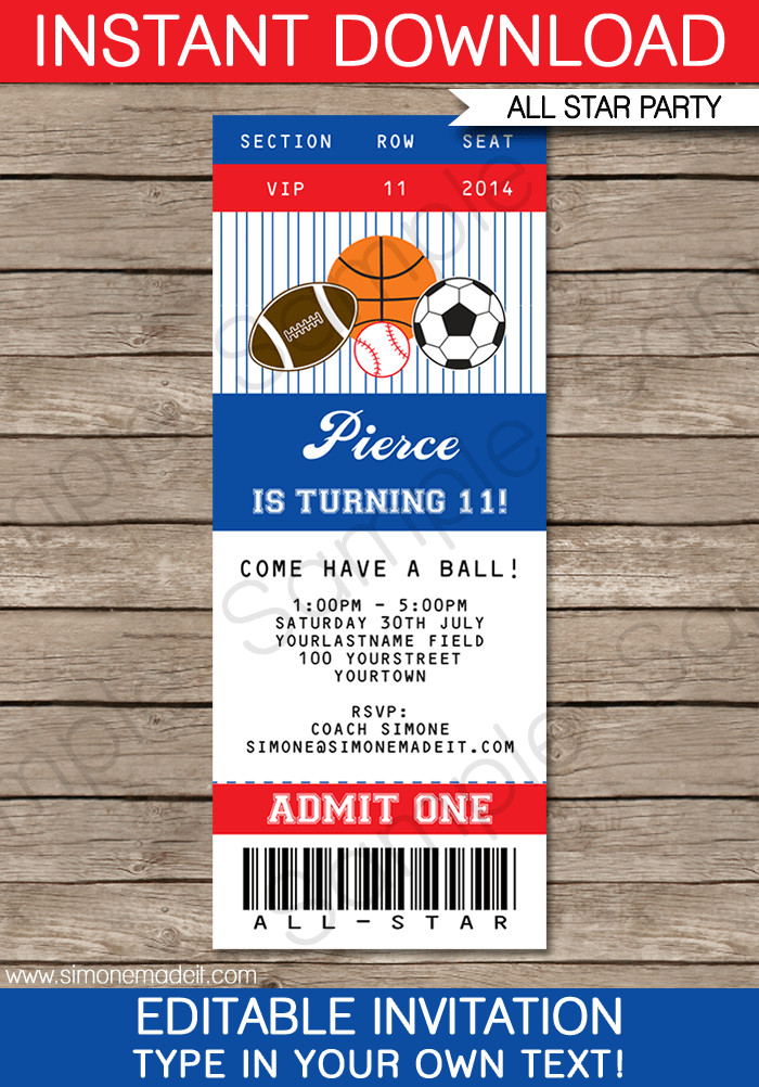 Ticket Invitation Template Free All Star Sports Ticket Invitations