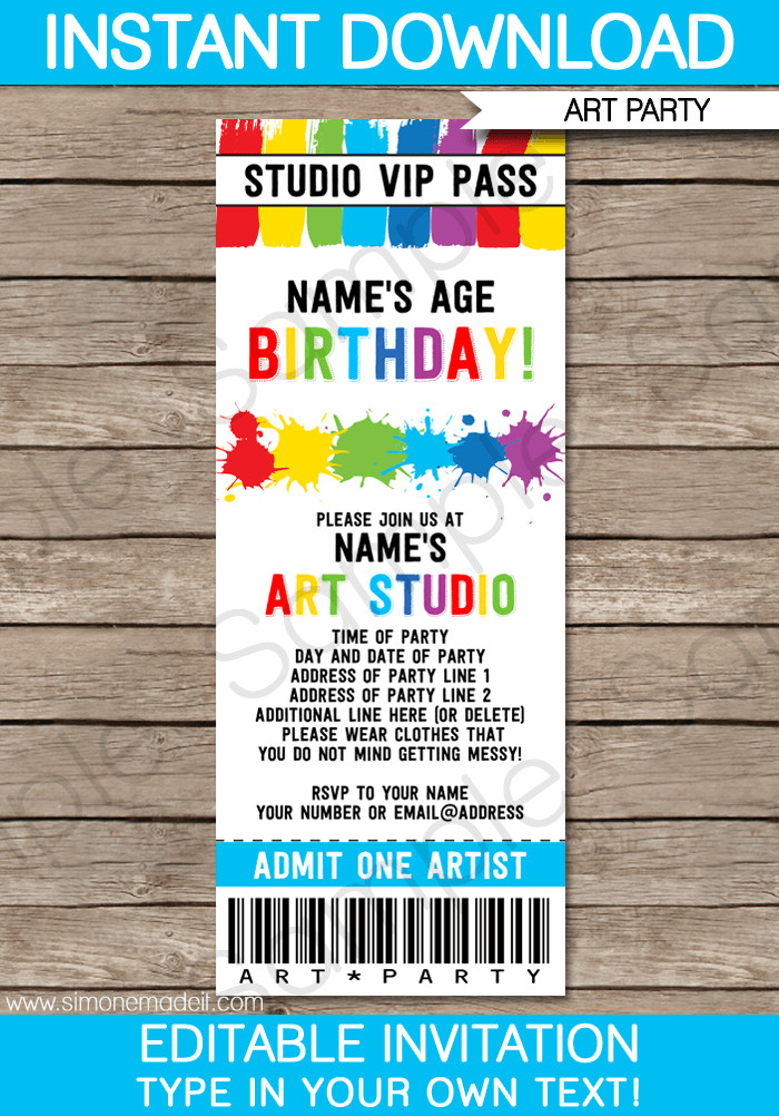 Ticket Invitation Template Free Art Party Ticket Invitations Paint Party