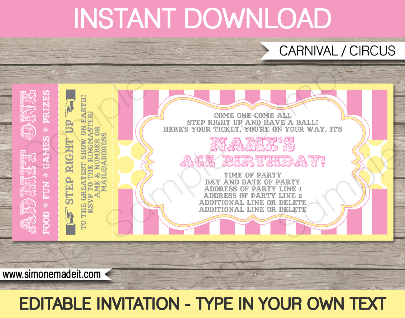 Ticket Invitation Template Free Carnival Birthday Ticket Invitation Template