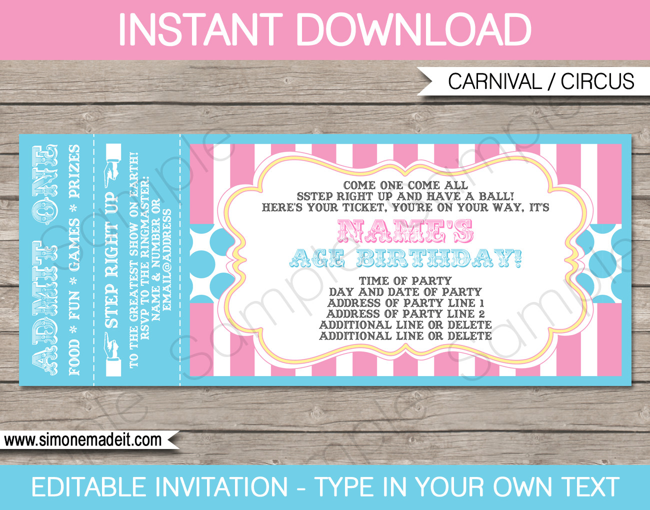Ticket Invitation Template Free Carnival Party Ticket Invitations Template