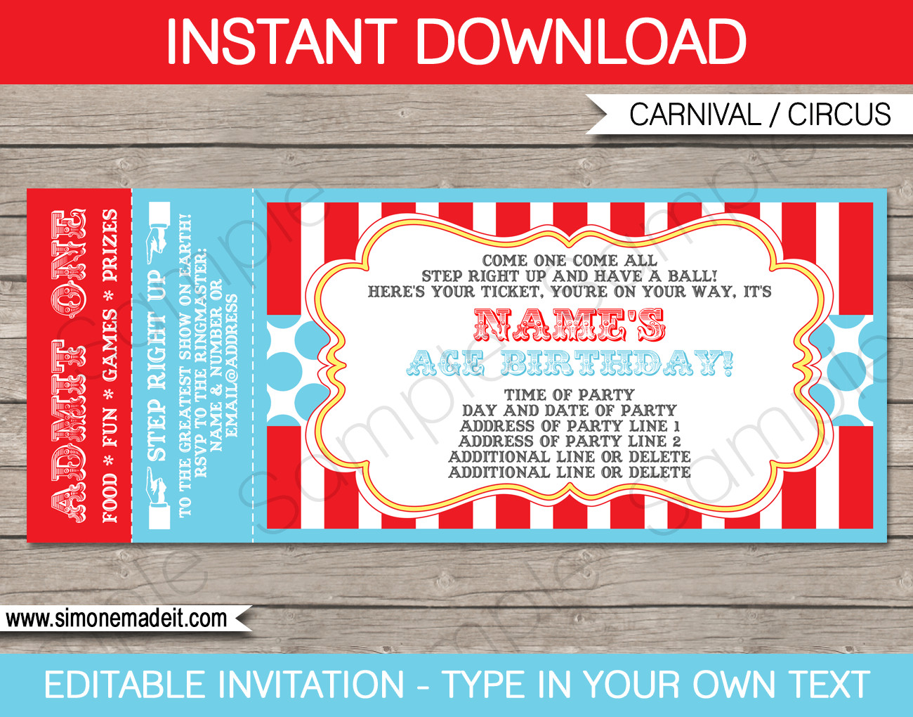 Ticket Invitation Template Free Circus Ticket Invitation Template