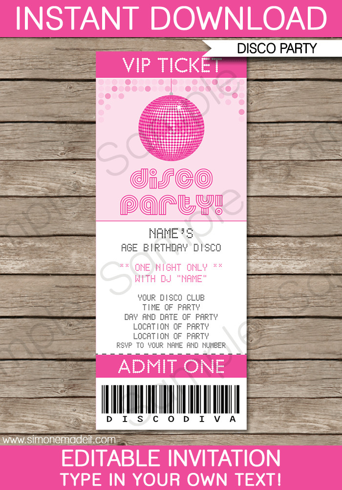 Ticket Invitation Template Free Disco Party Ticket Invitations Birthday Party