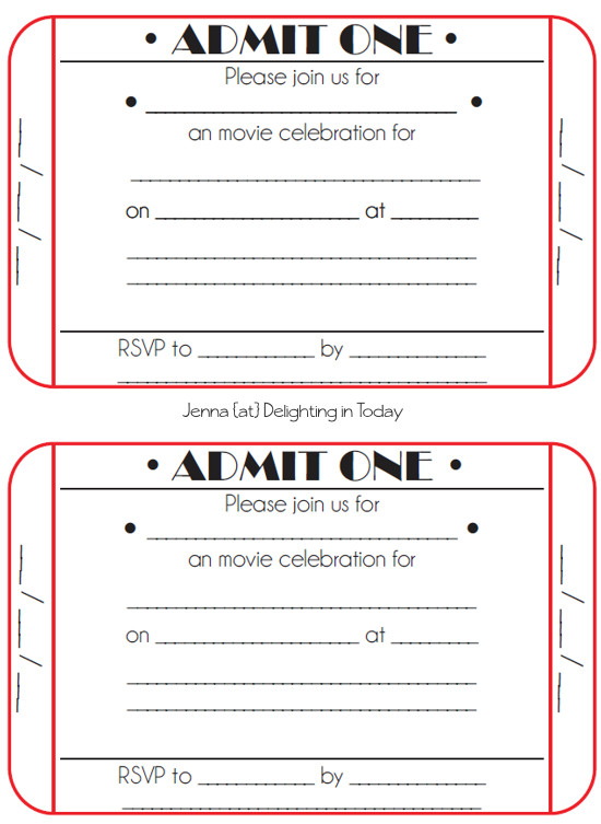 Ticket Invitation Template Free Movie Ticket Birthday Invitations Free Printable