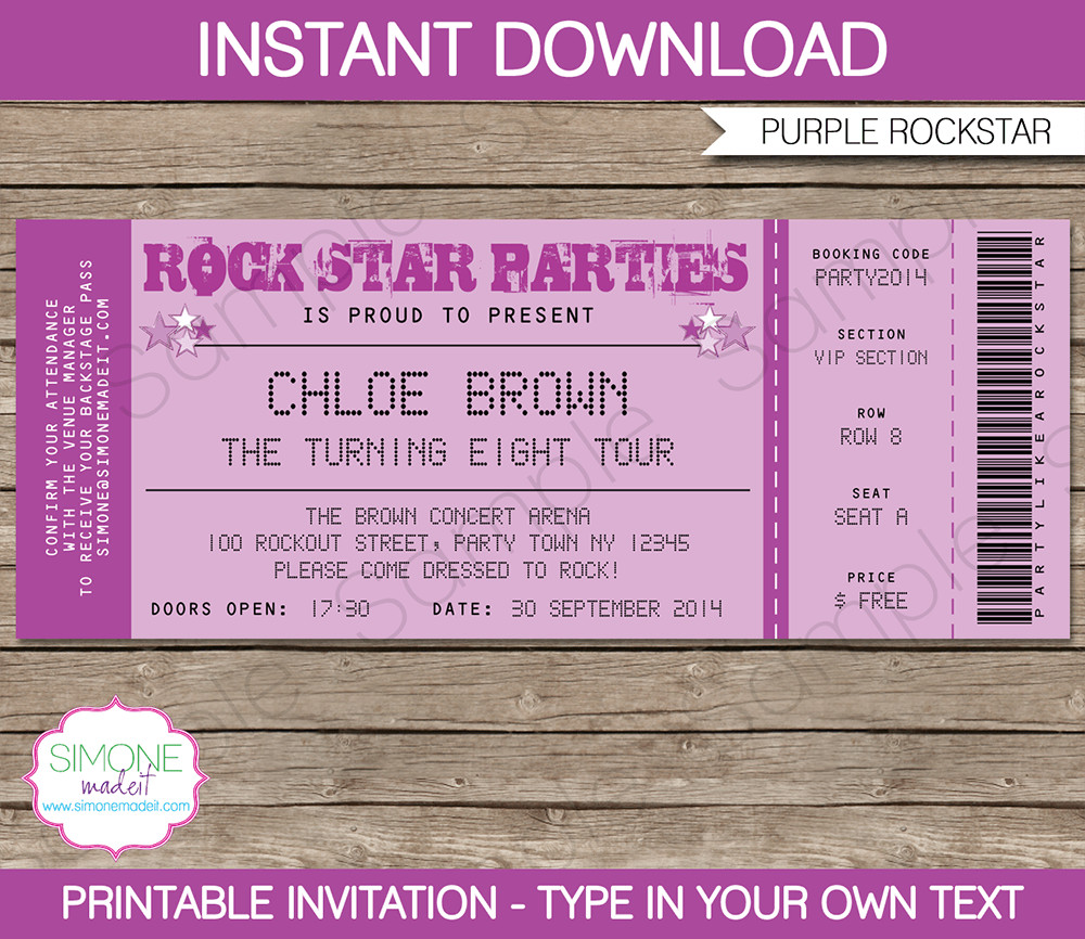 Ticket Invitation Template Free Rock Star Party Ticket Invitations Template