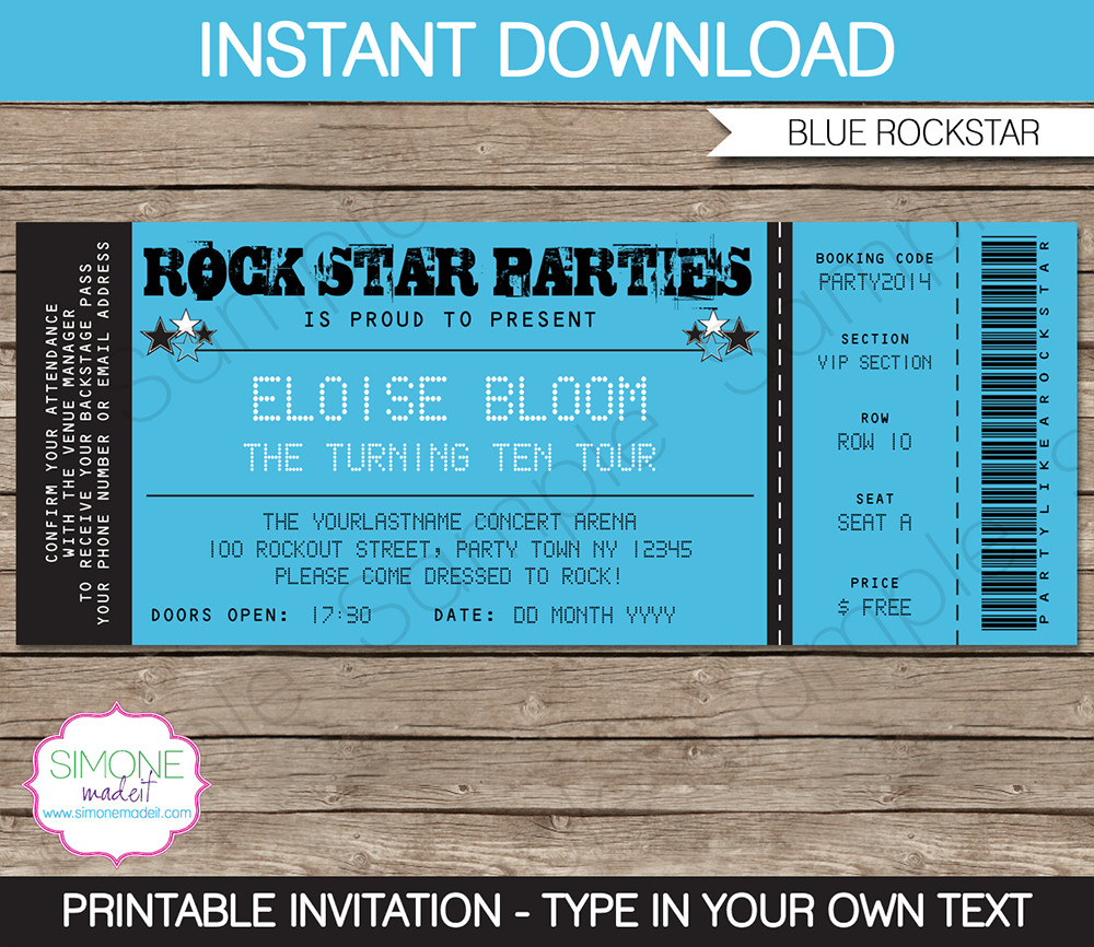 Ticket Invitation Template Free Rockstar Party Ticket Invitation Template Blue