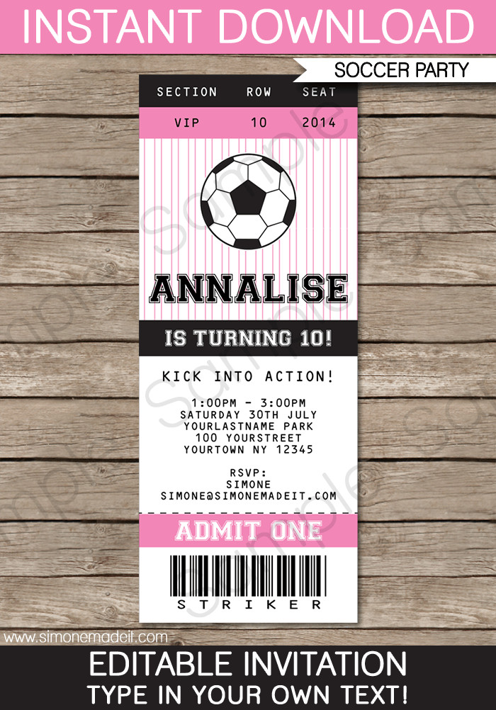 Ticket Invitation Template Free soccer Ticket Invitations Birthday Party