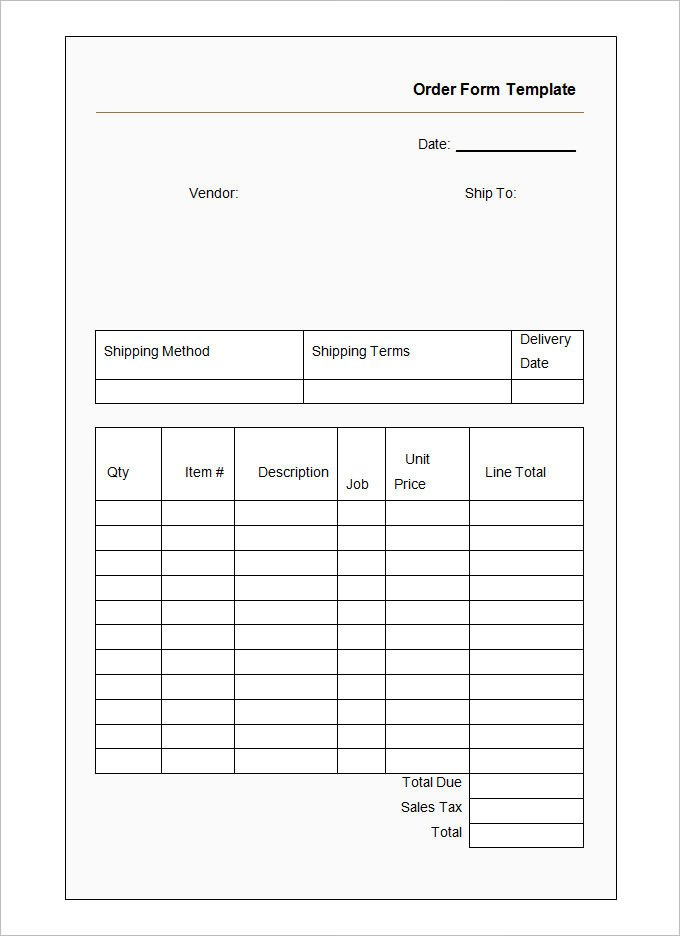 Ticket order form Template Word 41 Blank order form Templates Pdf Doc Excel