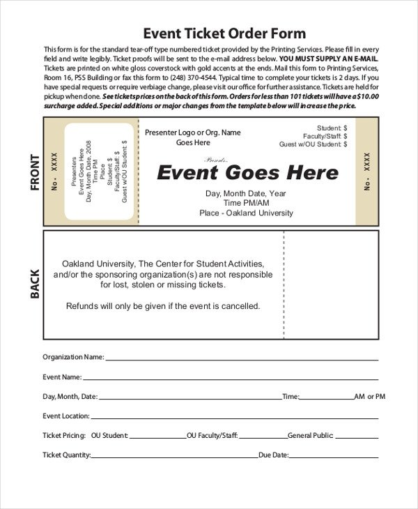 Ticket order form Template Word Sample event order form 10 Free Documents In Word Pdf