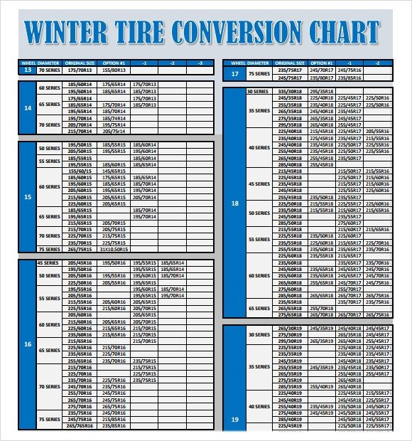 Tire Size Comparison Chart Template Sample Tire Conversion Chart 8 Free Documents Download