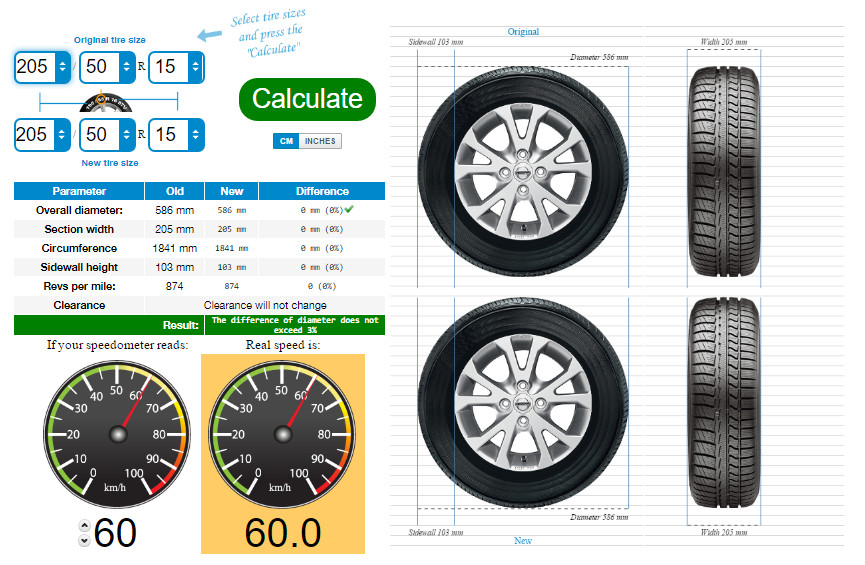 Tire Size Comparison Chart Template Tire Size Calculator Pare Tires Online