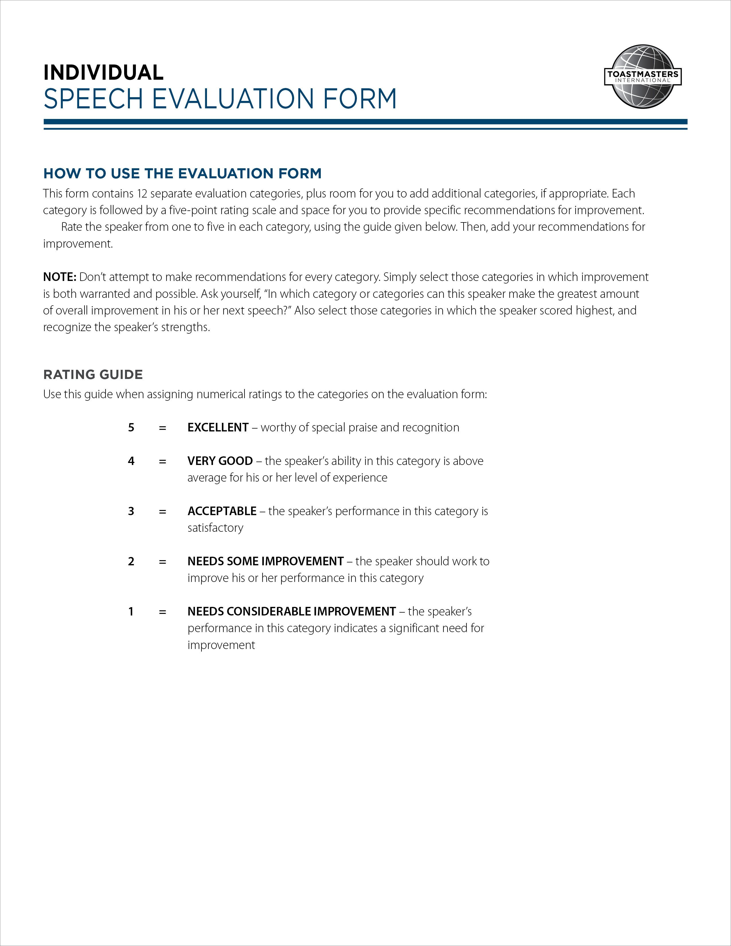 Toastmasters Speech Evaluation form Art Of Effective Evaluation Individual Speech form Pad Of 30