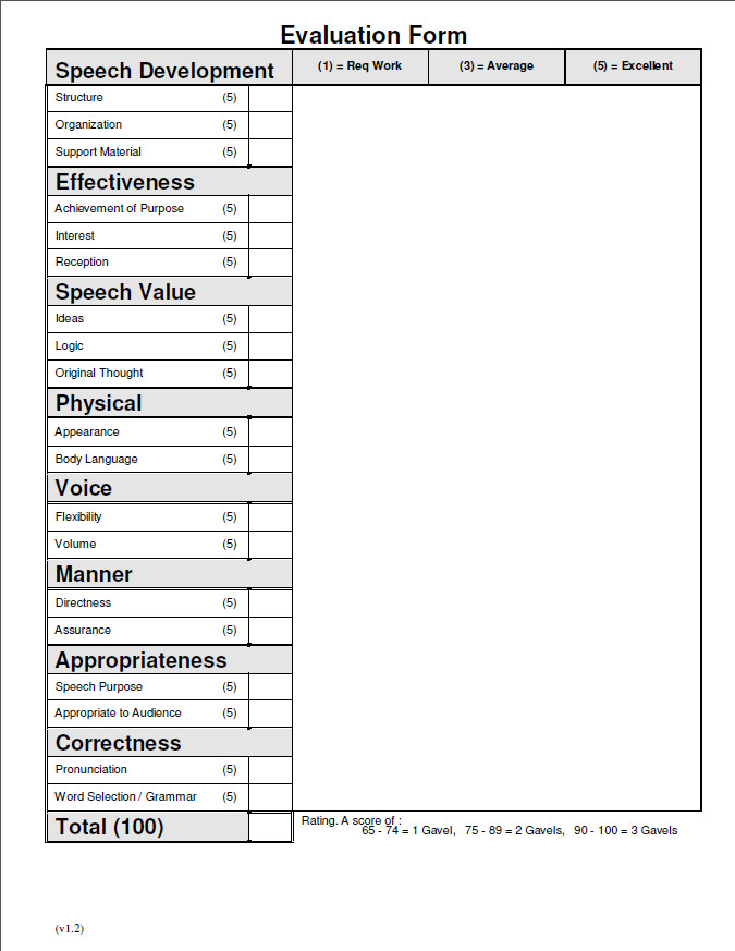 Toastmasters Speech Evaluation form Evaluation forms Articles Message Masters toastmasters