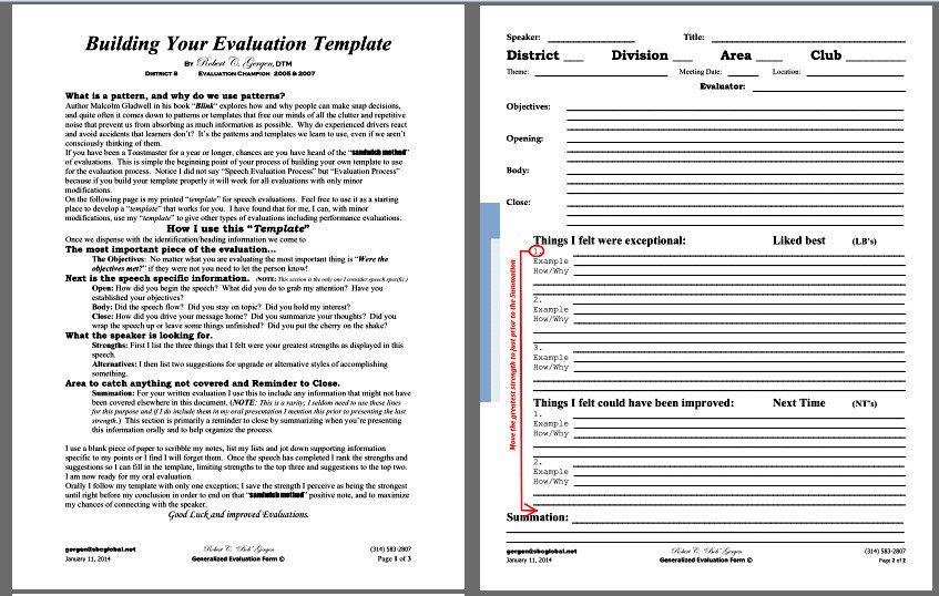 Toastmasters Speech Evaluation form Speech Evaluation Template – Bob Gergen