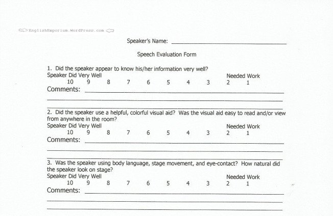Toastmasters Speech Evaluation form Teacher tools