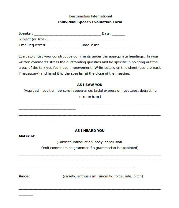 Toastmaster Evaluation Template – 20 Free Word PDF