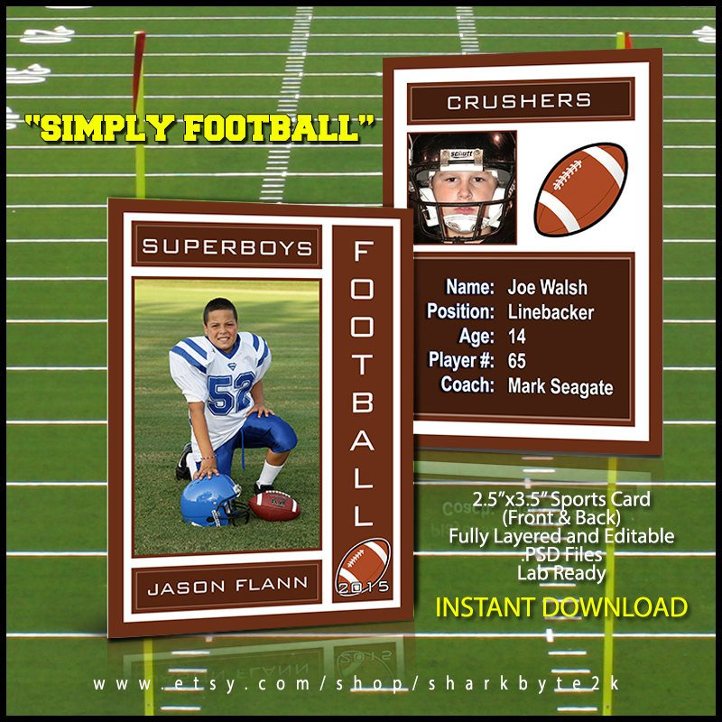 Trading Card Template Photoshop 2017 Football Sports Trading Card Template for Shop