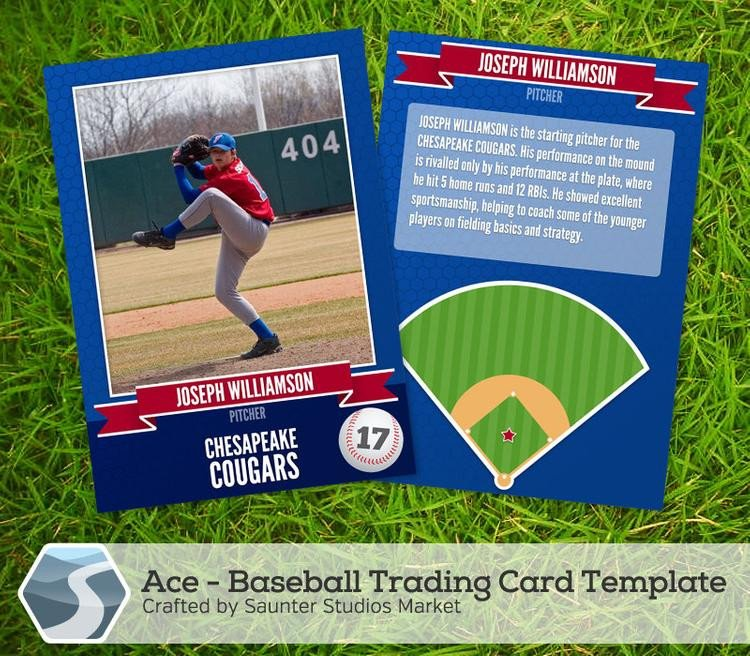 Trading Card Template Photoshop Ace Baseball Trading Card 2 5 X 3 5 Shop by