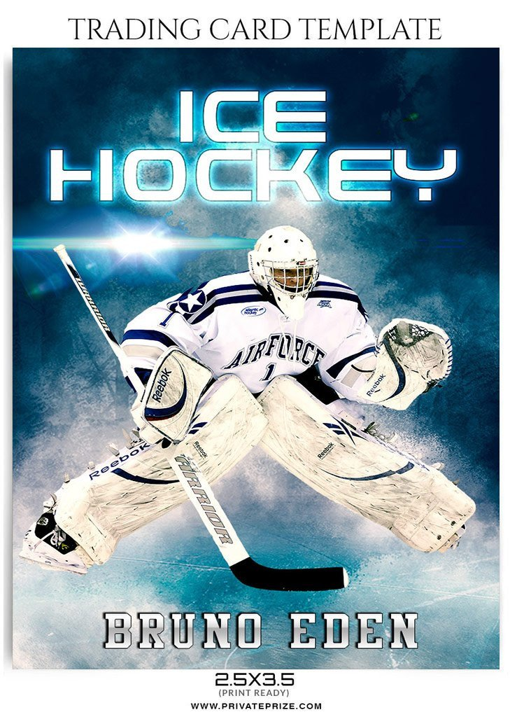 Trading Card Template Photoshop Bruno Eden Ice Hockey Sports Trading Card Shop Template