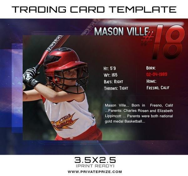 Trading Card Template Photoshop Mason Sports Trading Card Template