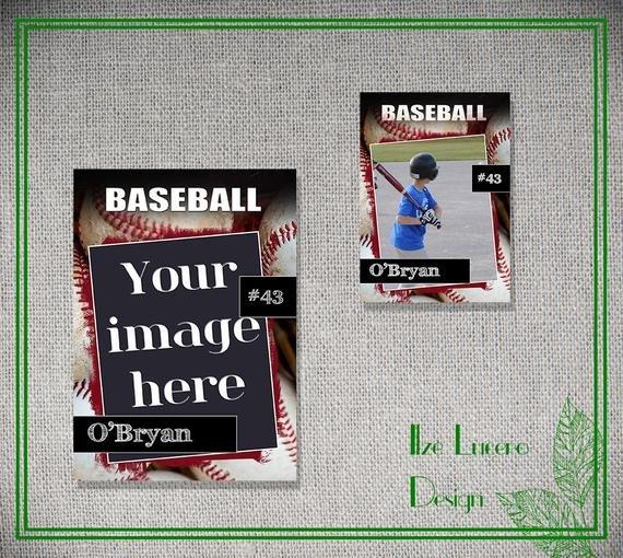 Trading Card Template Photoshop Psd Baseball Trading Card Template by Ilzesdesigns On Etsy