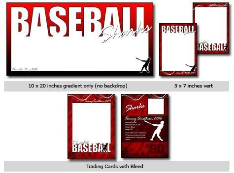 Trading Card Template Photoshop Sports Baseball Vol 4 Phototshop and Elements Templates