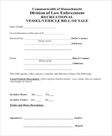 Trailer Bill Of Sale Sample Trailer Bill Of Sale 8 Examples In Pdf Word