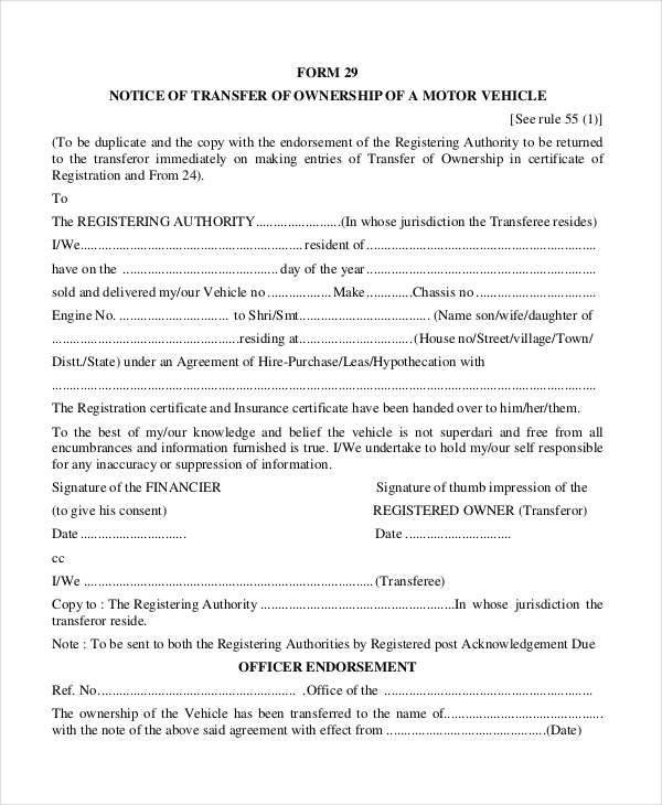Transfer Of Ownership Agreement 13 Transfer Agreements Free Word Pdf format Download